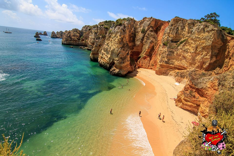 Aerial View of the beautiful Dona Ana Beach of Lagos on the Portugal Weekend Trip