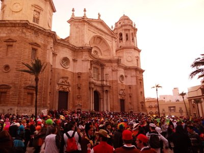 international students in the cathedral plaza at Cadiz Carnival Day Trip