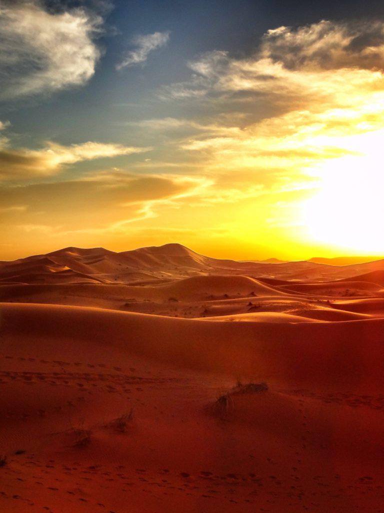 Sunset over the Sahara Desert from the Sahara Desert Adventure trip