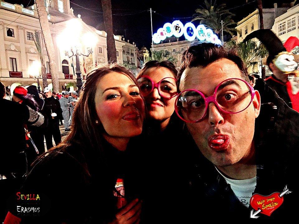 study abroad students having fun at Cadiz Carnival Day Trip