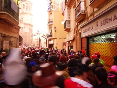 Crowded streets during the Carnaval of Cadiz