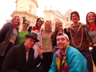 group of study abroad students in front of the cathedral on the Cadiz Carnival Day Trip