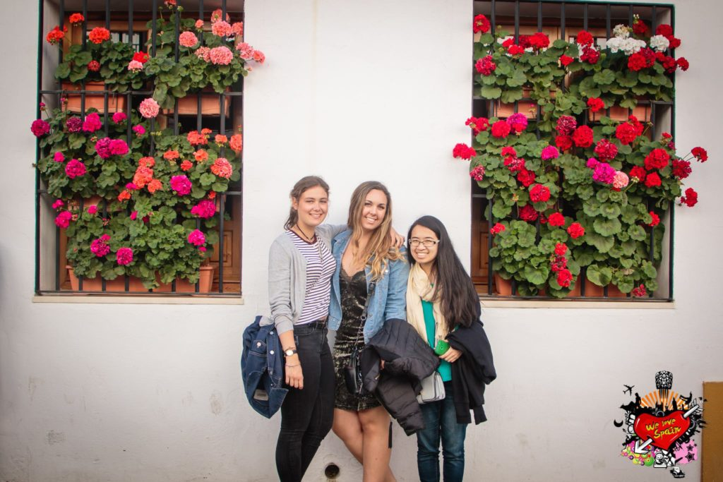 Study Abroad Students posing with flowers on Cordoba and Medieval Castle Day Trip